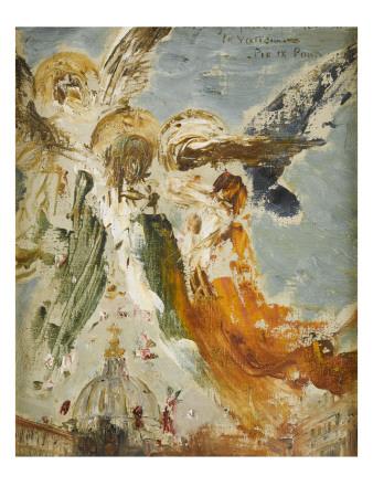 Des anges jettent des fleurs sur le Vatican by Gustave Moreau